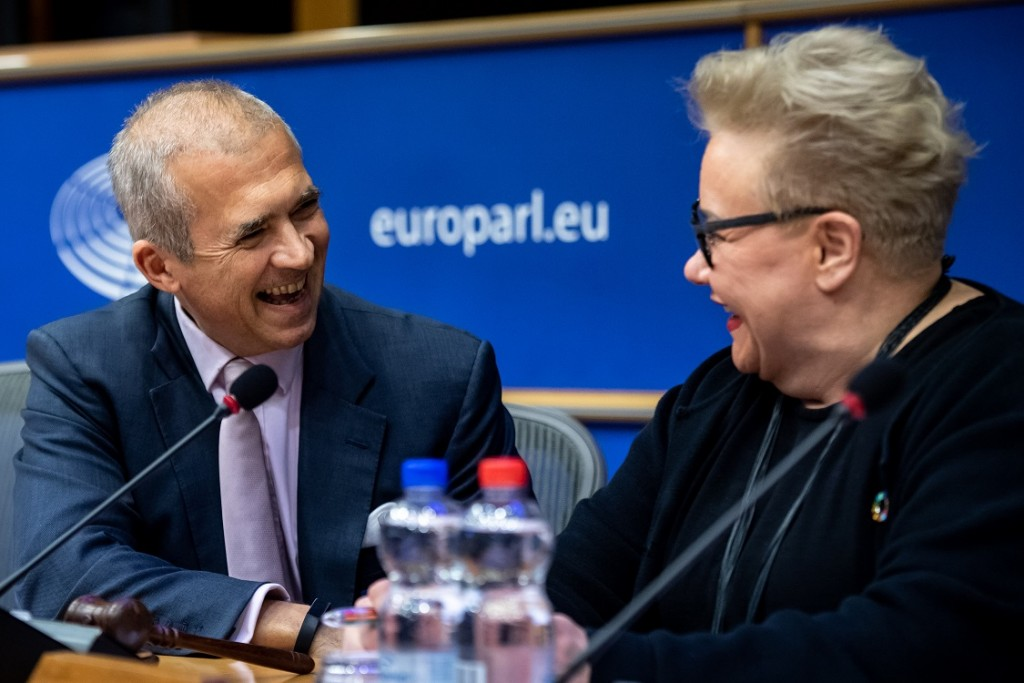BELGIUM , BRUSSELS , NOV. 20, 2018 - GLOBE EU High Level Conference - Missing Links in the Evolution of Sustainable Finance - Andreas Utermann & Sirpa Pietikainen Copyright Danny Gys