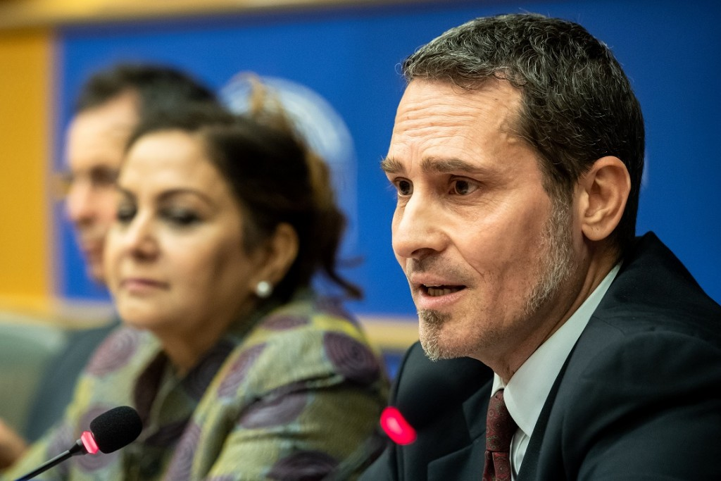 BELGIUM , BRUSSELS , NOV. 20, 2018 - GLOBE EU High Level Conference - Missing Links in the Evolution of Sustainable Finance - Paul Druckman , Neena Gill & Gianluca Manca Copyright Danny Gys