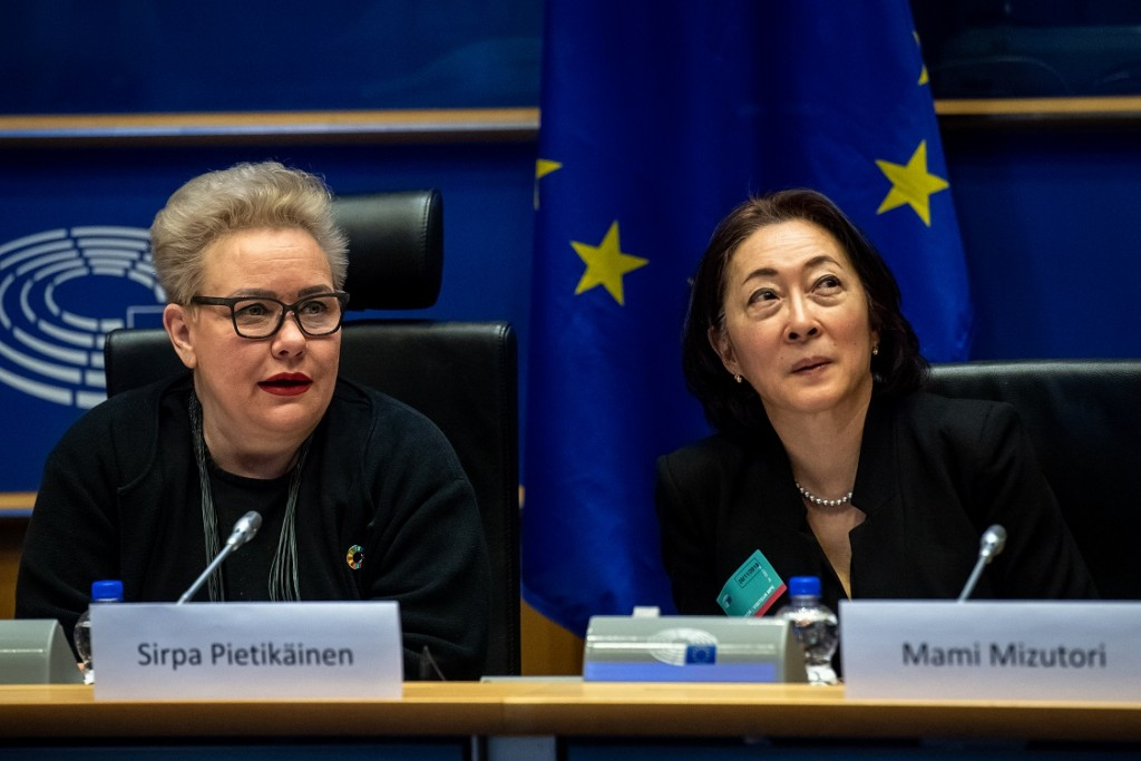 BELGIUM , BRUSSELS , NOV. 20, 2018 - GLOBE EU High Level Conference - Missing Links in the Evolution of Sustainable Finance - Sirpa Pietikainen & Mami Mizutori Copyright Danny Gys