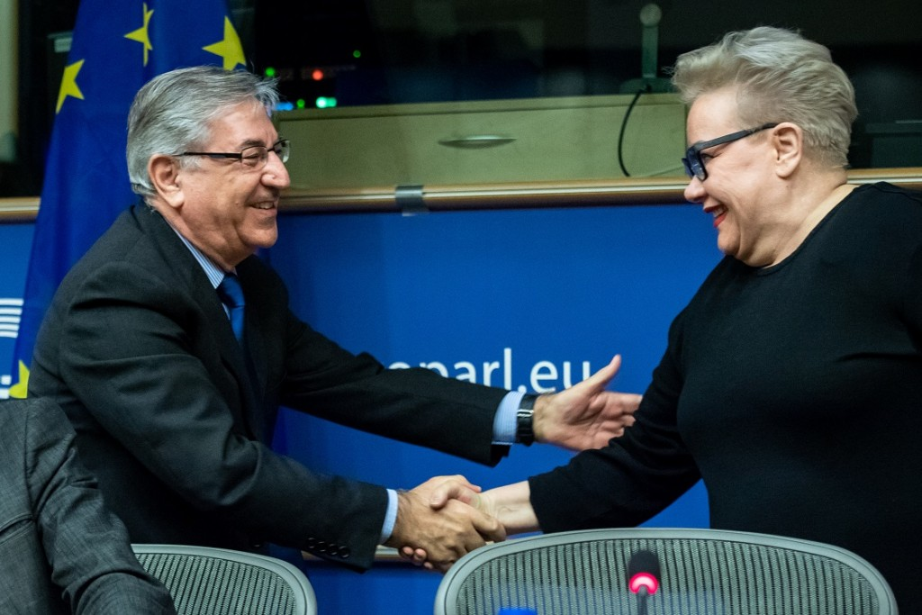 BELGIUM , BRUSSELS , NOV. 20, 2018 - GLOBE EU High Level Conference - Karmenu Vella & Sirpa Pietikainen Copyright Danny Gys