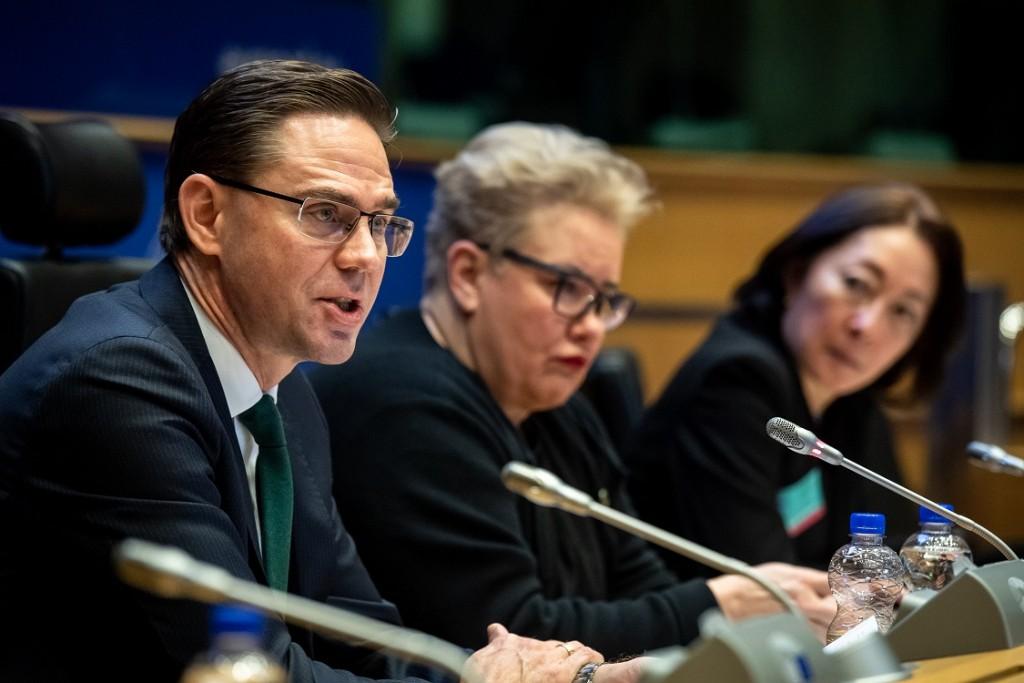 BELGIUM , BRUSSELS , NOV. 20, 2018 - GLOBE EU High Level Conference - Missing Links in the Evolution of Sustainable Finance - Jyrki Katainen , Sirpa Pietikainen & Mami Mizutori Copyright Danny Gys
