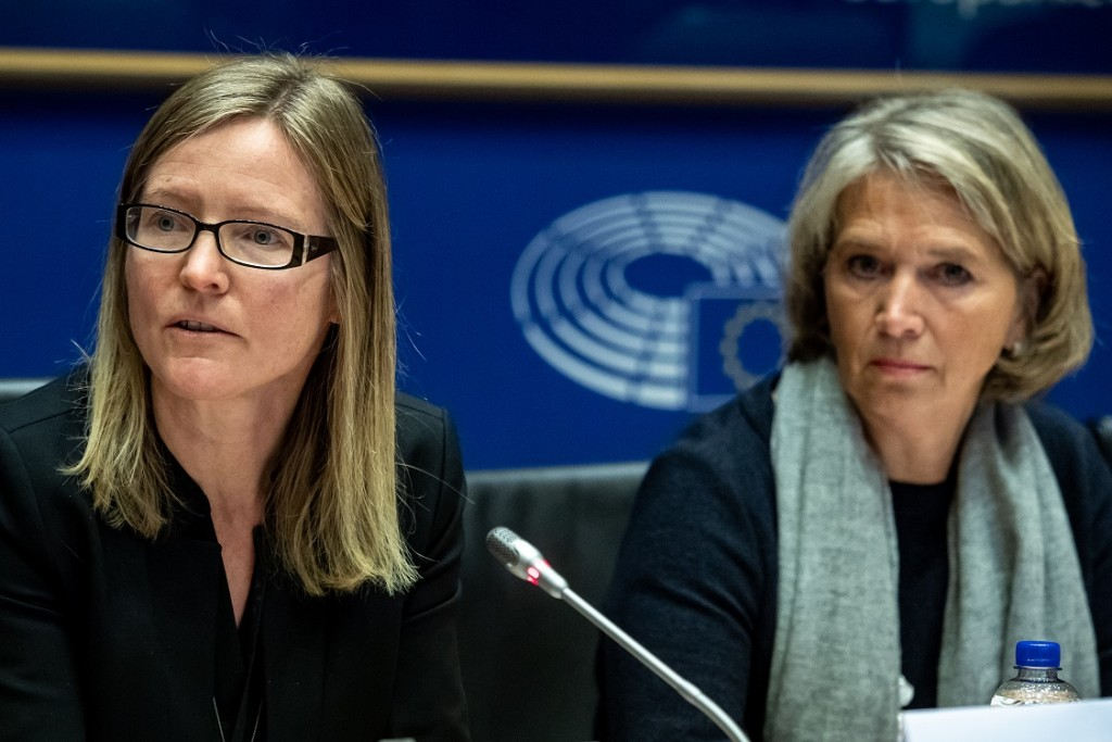 BELGIUM , BRUSSELS , NOV. 20, 2018 - GLOBE EU High Level Conference - Missing Links in the Evolution of Sustainable Finance - Astrid Ladefoged & Constance Kann Copyright Danny Gys