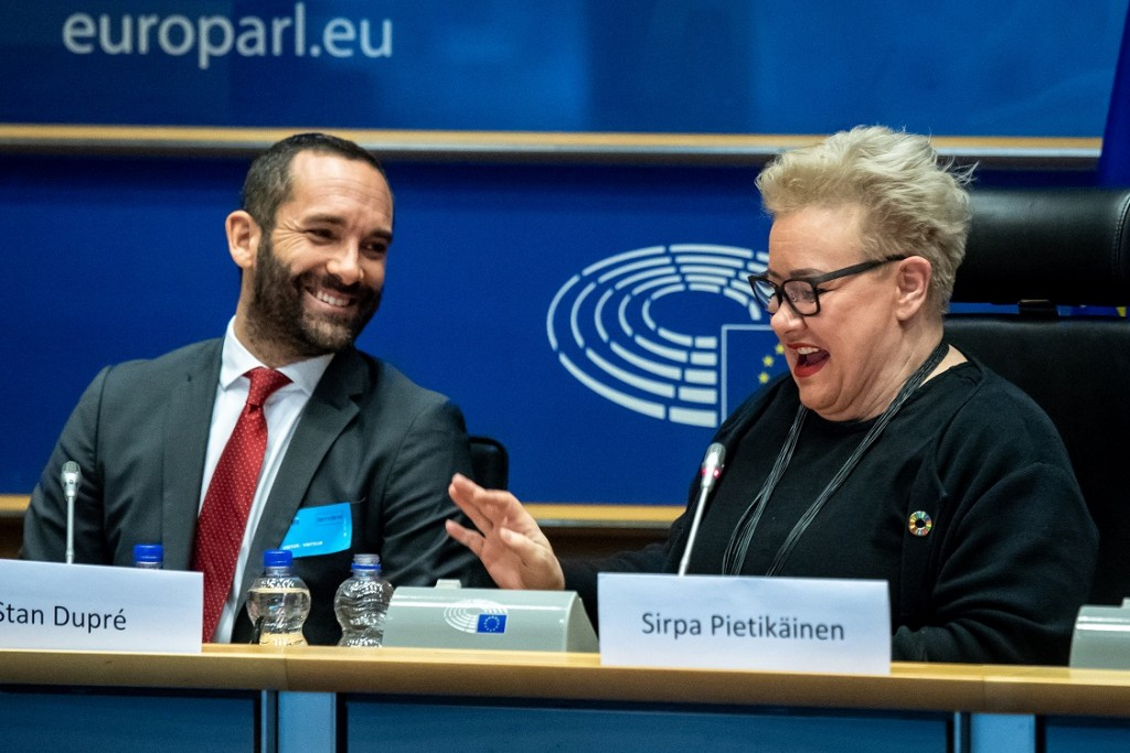 BELGIUM , BRUSSELS , NOV. 20, 2018 - GLOBE EU High Level Conference - Missing Links in the Evolution of Sustainable Finance - Stanislas Dupre & Sirpa Pietikainen Copyright Danny Gys